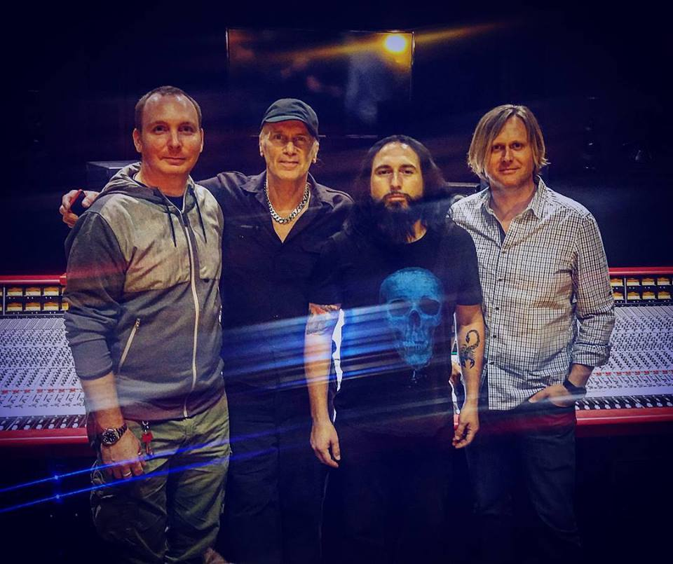 Billy Sheehan, Monte Pittman and Jay Ruston in Studio B with engineer Francesco Cameli.